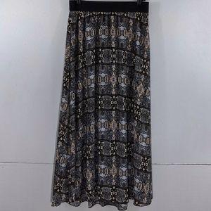LULAROE Lucy Banded Print Chiffon Maxi skirt Large